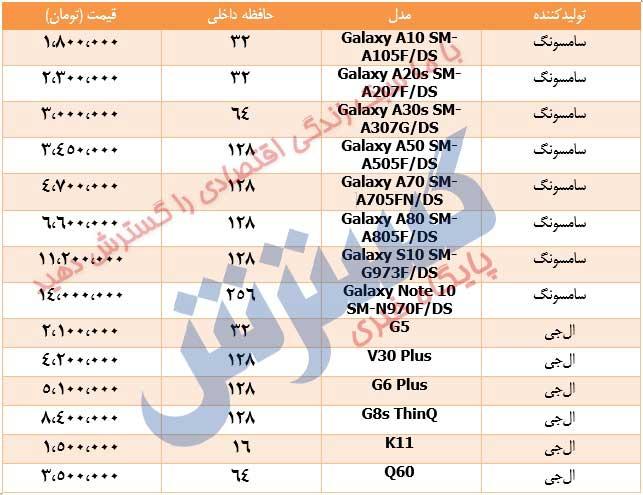 قیمت جدید گوشیهای سامسونگ و الجی بعد از حواشی اخیر+جدول
